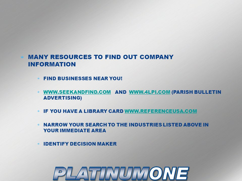 MANY RESOURCES TO FIND OUT COMPANY INFORMATION