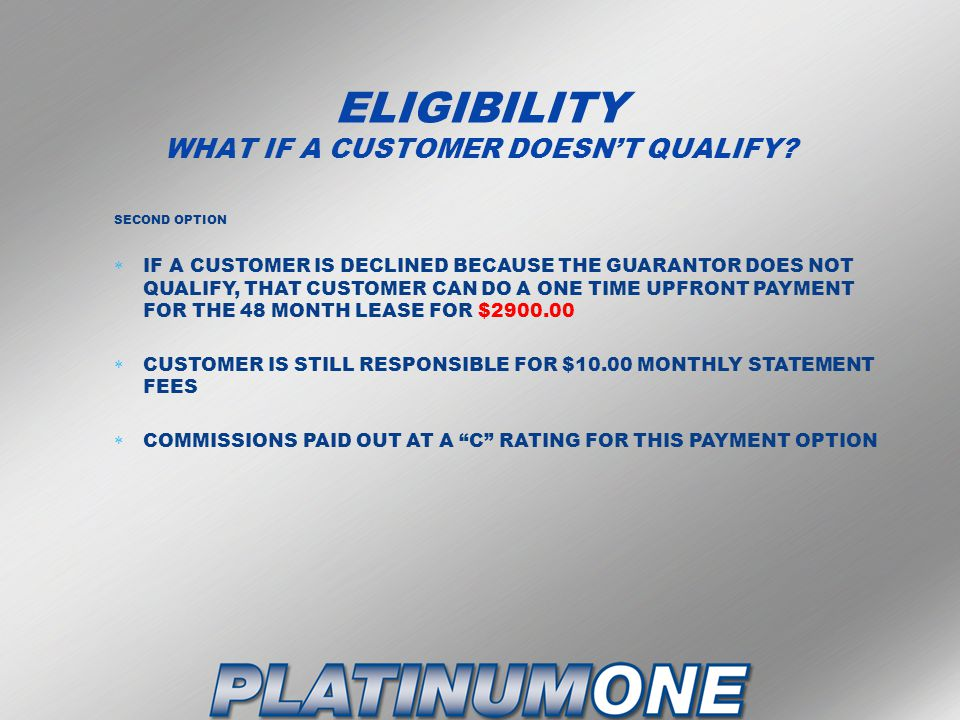 ELIGIBILITY WHAT IF A CUSTOMER DOESN'T QUALIFY