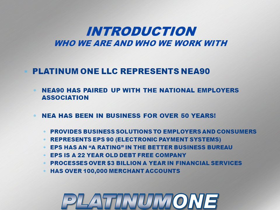 INTRODUCTION WHO WE ARE AND WHO WE WORK WITH