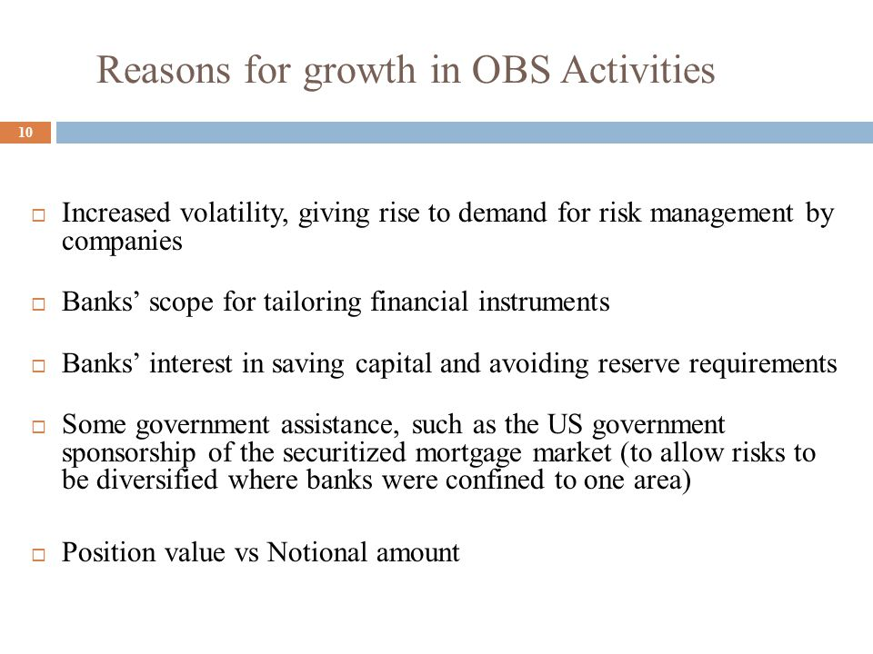 Reasons for growth in OBS Activities