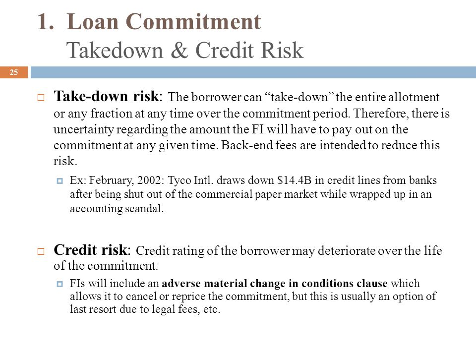 1. Loan Commitment Takedown & Credit Risk