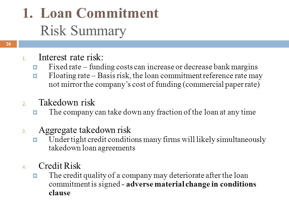 1. Loan Commitment Risk Summary