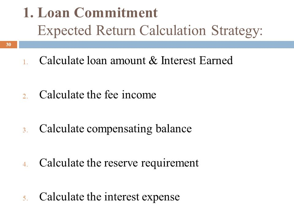 1. Loan Commitment Expected Return Calculation Strategy: