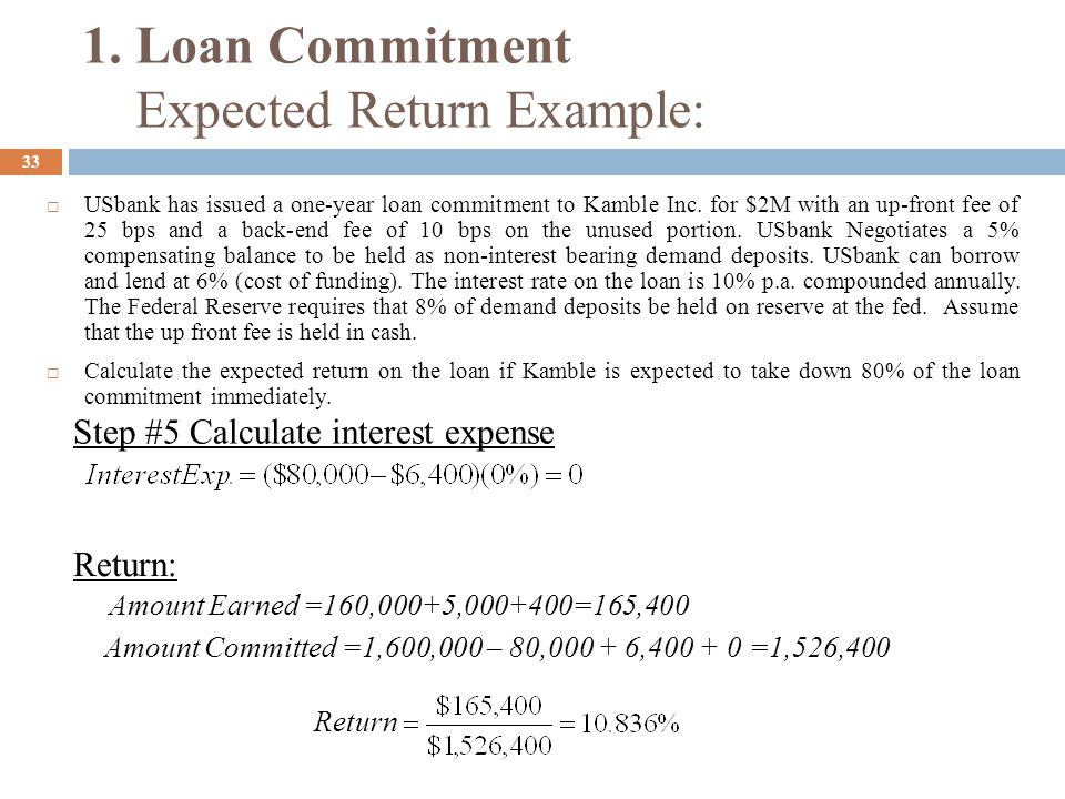 1. Loan Commitment Expected Return Example: