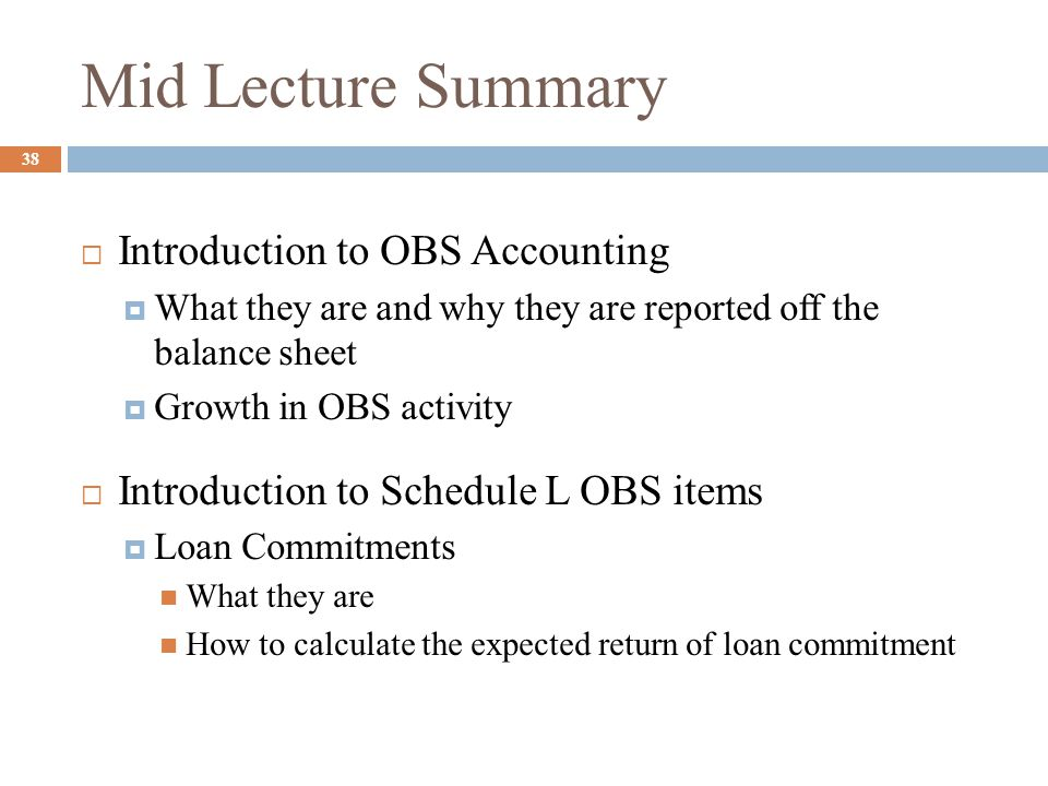 Mid Lecture Summary Introduction to OBS Accounting