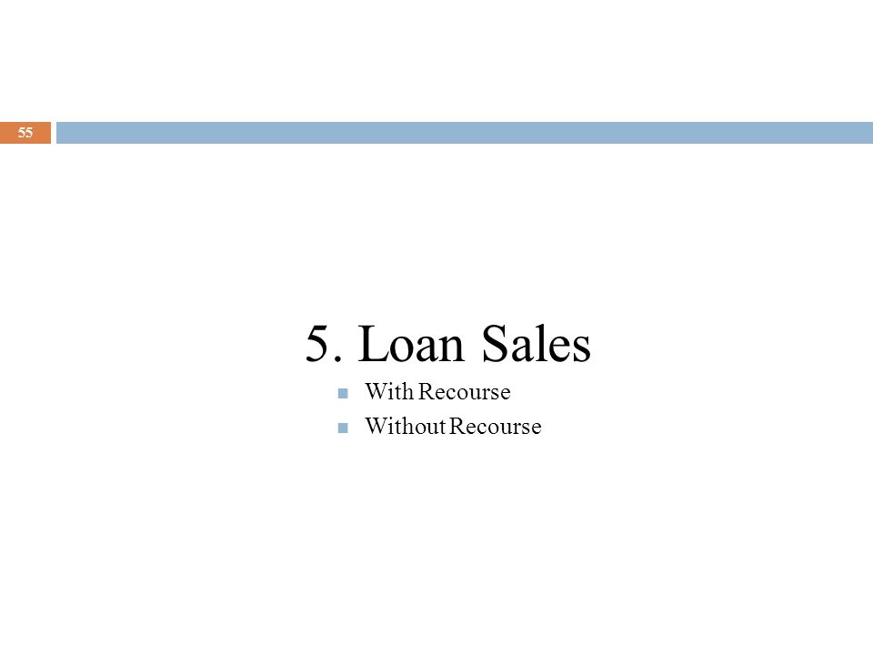 5. Loan Sales With Recourse Without Recourse
