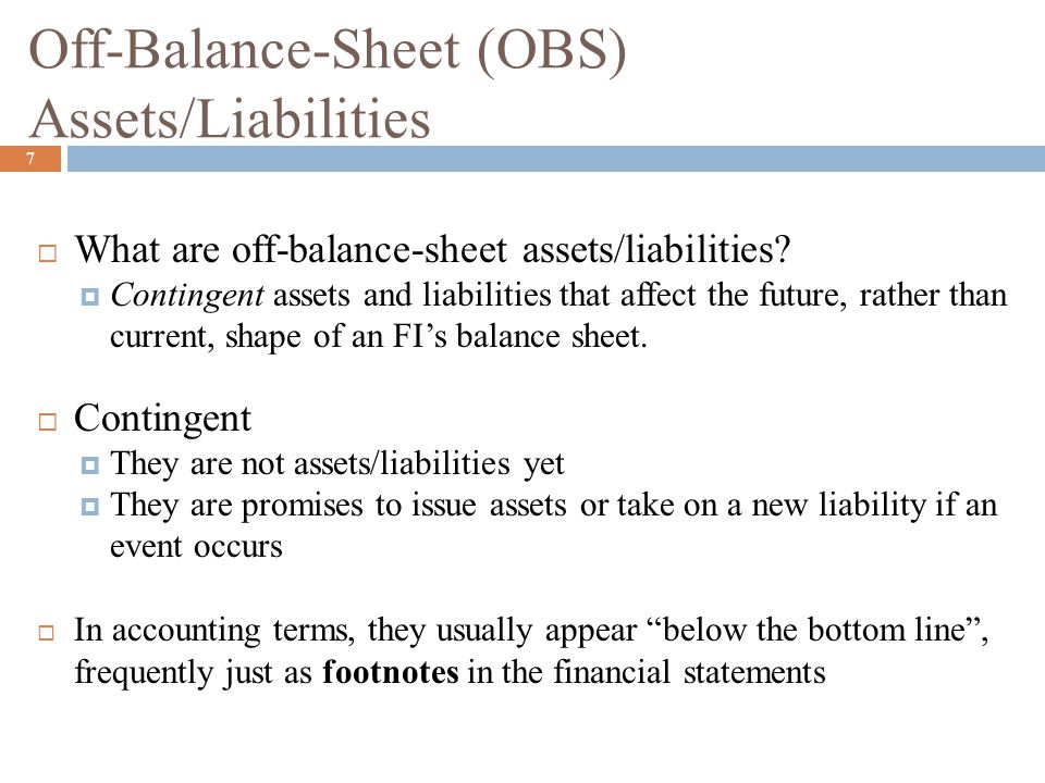 Off-Balance-Sheet (OBS) Assets/Liabilities