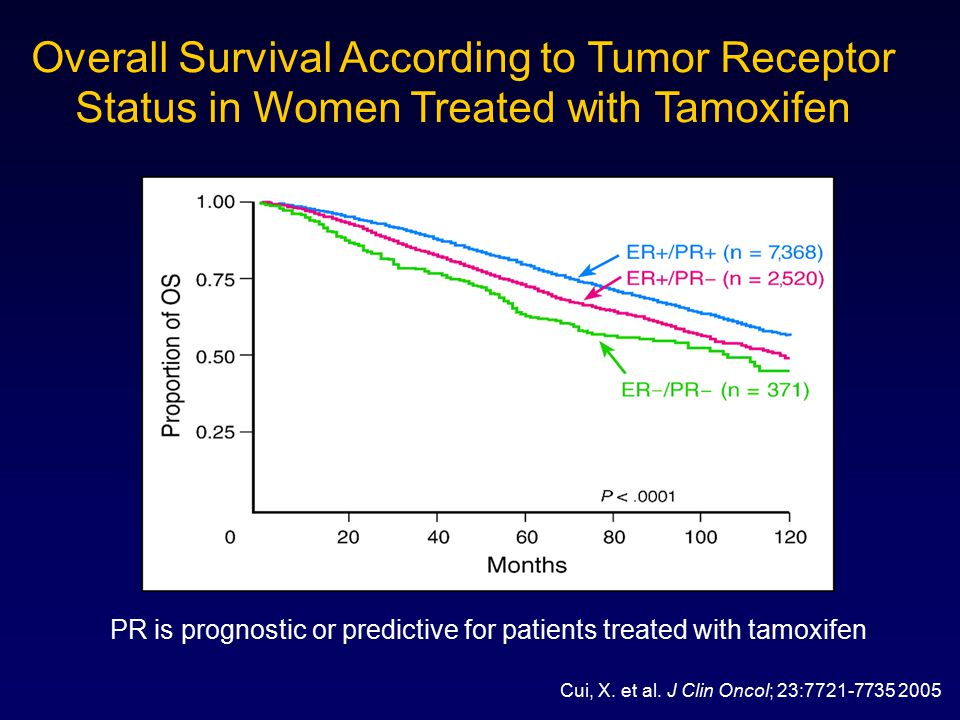 PR is prognostic or predictive for patients treated with tamoxifen