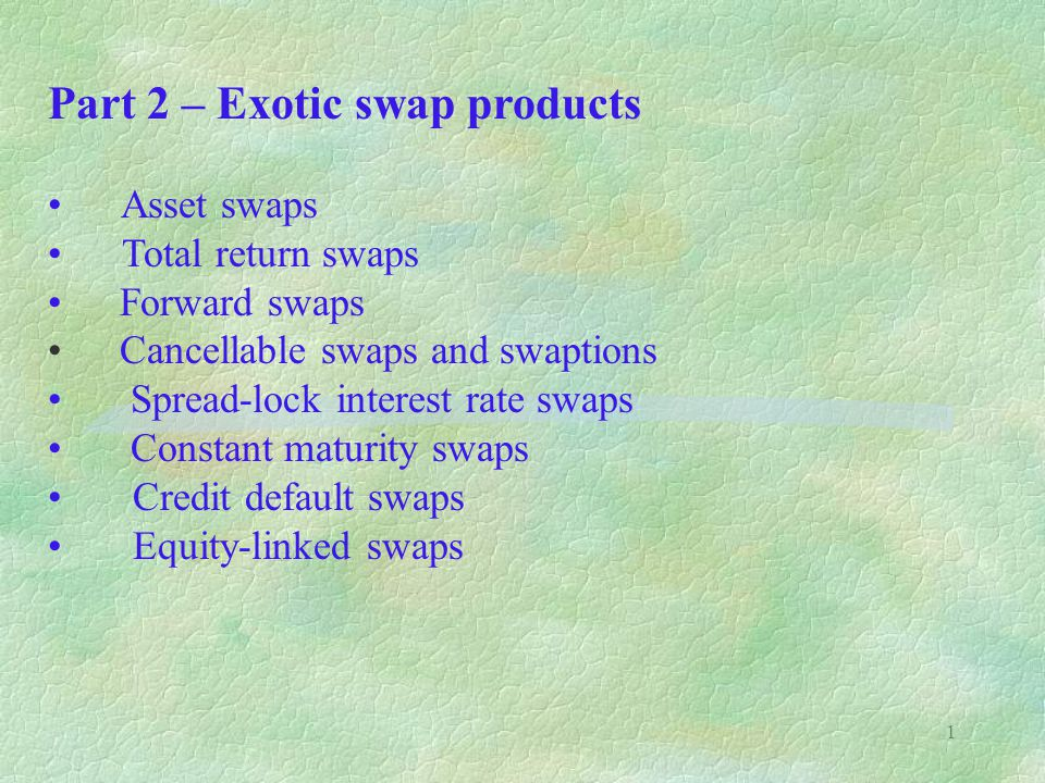 Part 2 – Exotic swap products