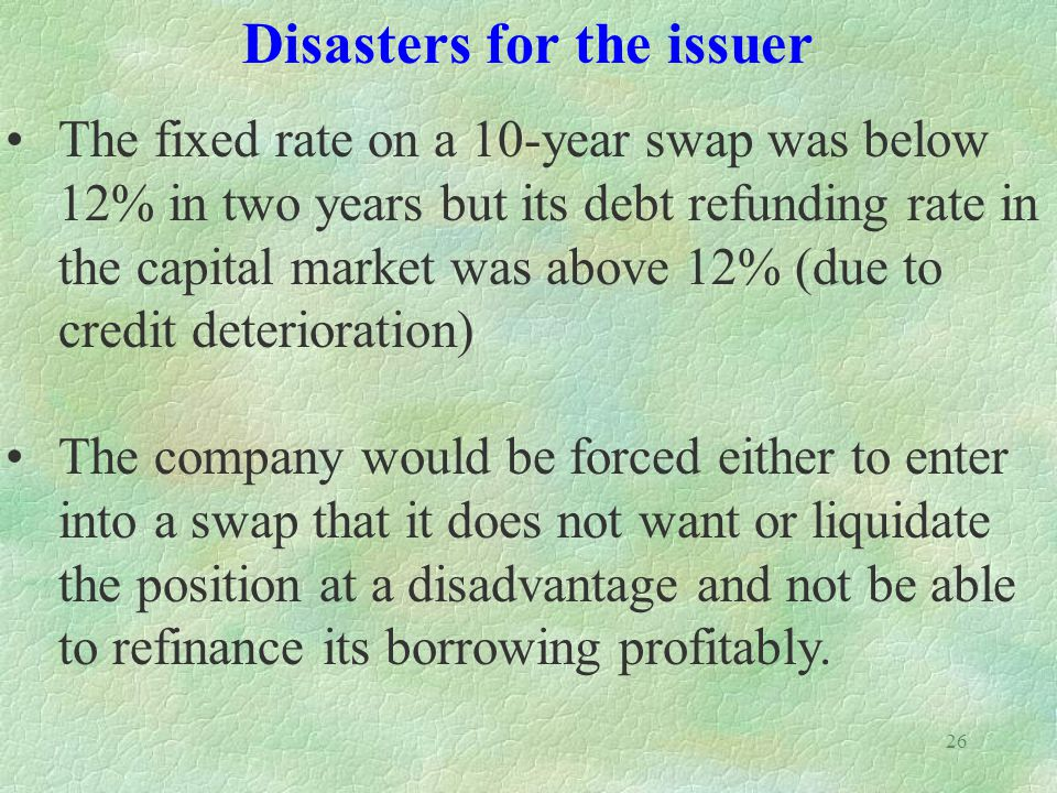 Disasters for the issuer