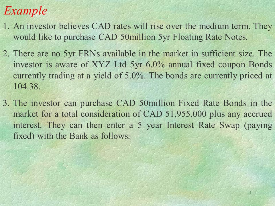 Example An investor believes CAD rates will rise over the medium term. They would like to purchase CAD 50million 5yr Floating Rate Notes.