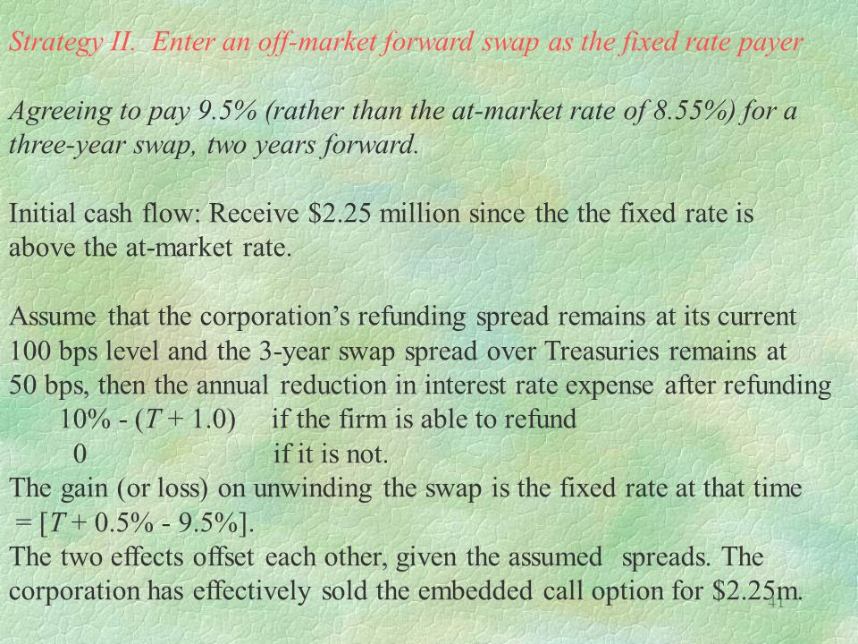 Strategy II. Enter an off-market forward swap as the fixed rate payer