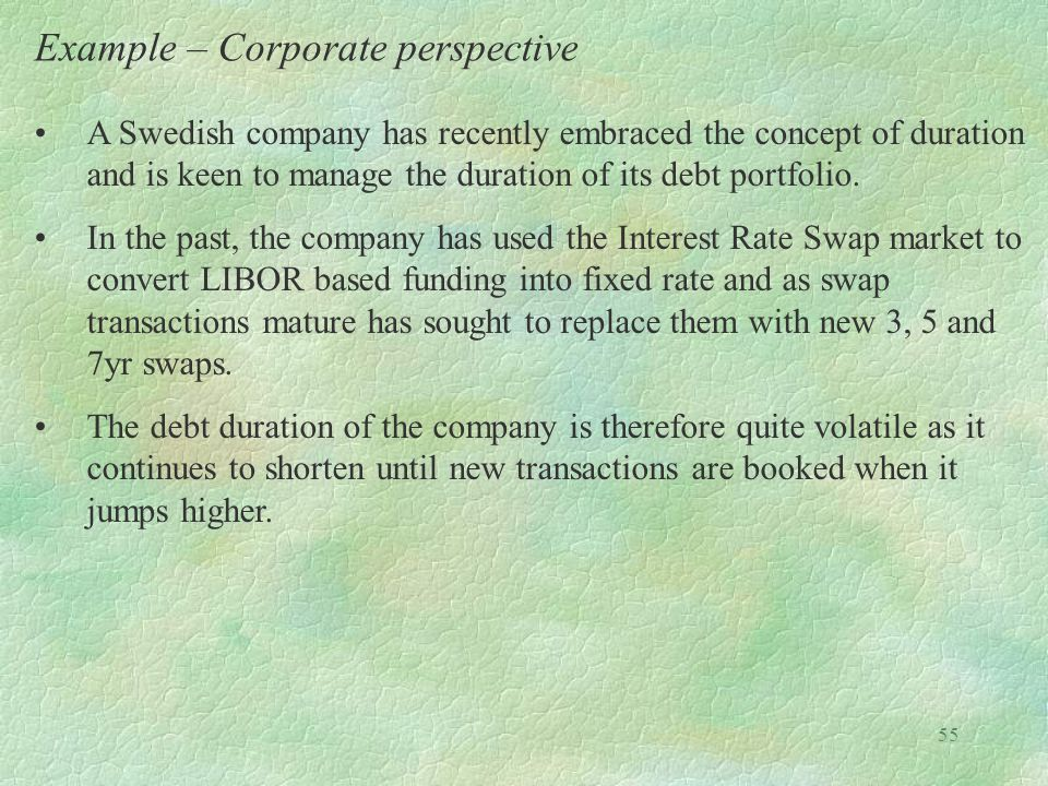 Example – Corporate perspective