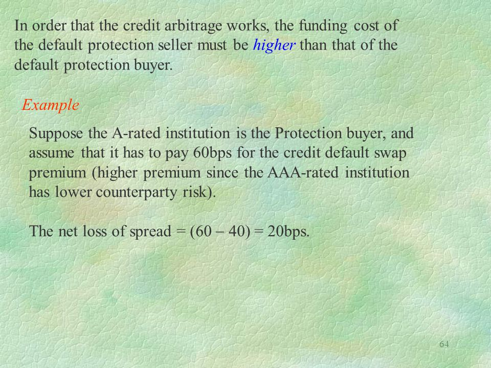 In order that the credit arbitrage works, the funding cost of