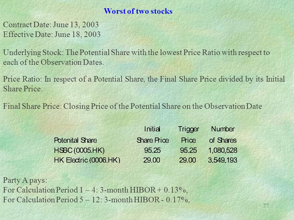 Worst of two stocks Contract Date: June 13, 2003. Effective Date: June 18, 2003.