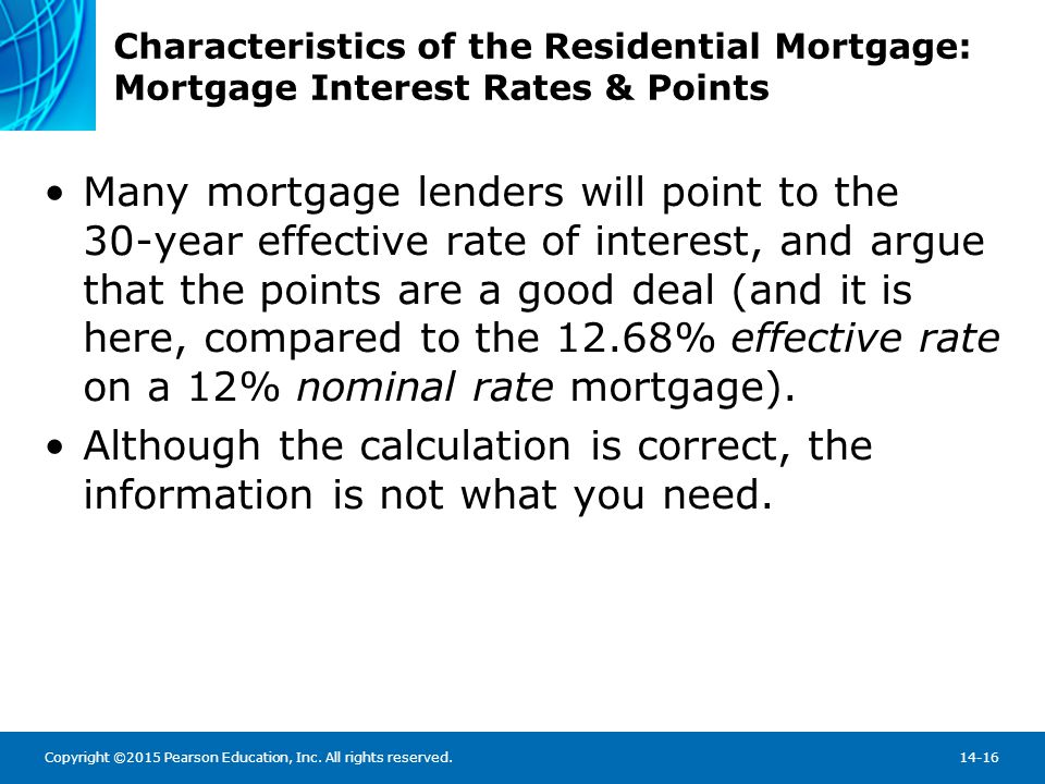 Characteristics of the Residential Mortgage: Mortgage Interest Rates & Points