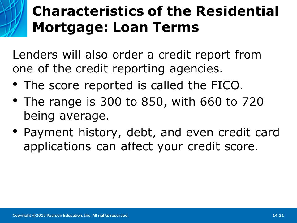 Characteristics of the Residential Mortgage: Loan Amortization