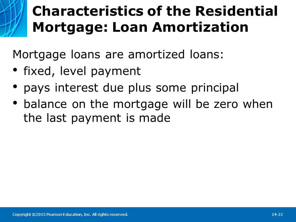 Characteristics of the Residential Mortgage: Loan Amortization Schedule