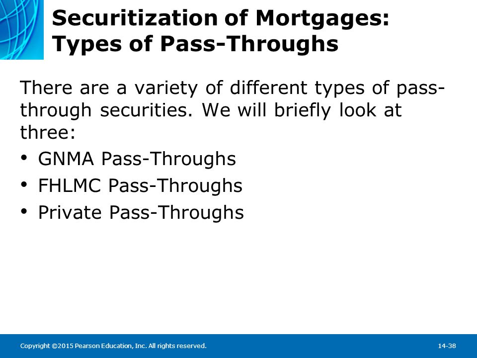 Securitization of Mortgages: GNMA Pass-Throughs