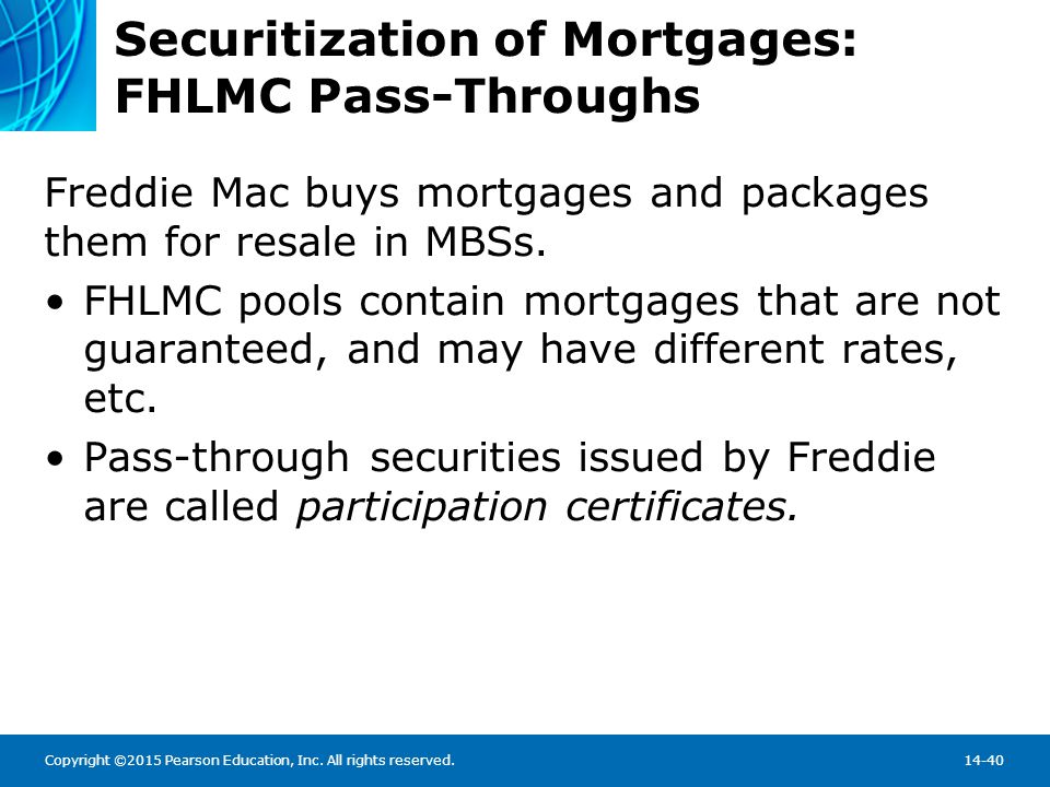 Securitization of Mortgages: FHLMC Pass-Throughs