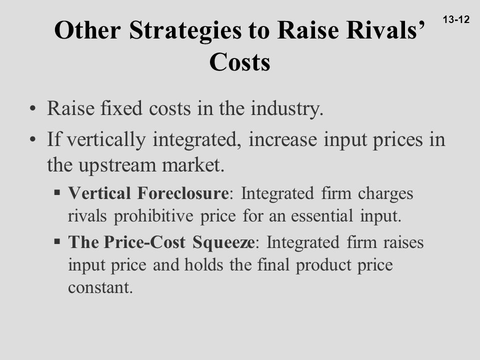 Other Strategies to Raise Rivals' Costs