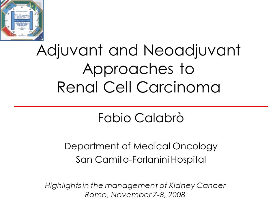 Adjuvant and Neoadjuvant Approaches to Renal Cell Carcinoma