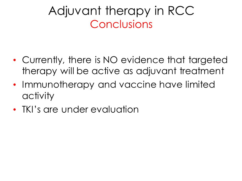 Adjuvant therapy in RCC Conclusions