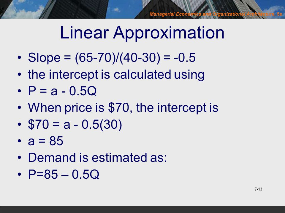 Linear Approximation Slope = (65-70)/(40-30) = -0.5