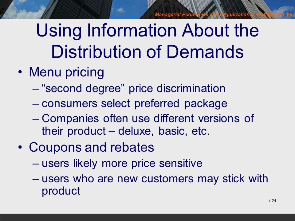 Using Information About the Distribution of Demands
