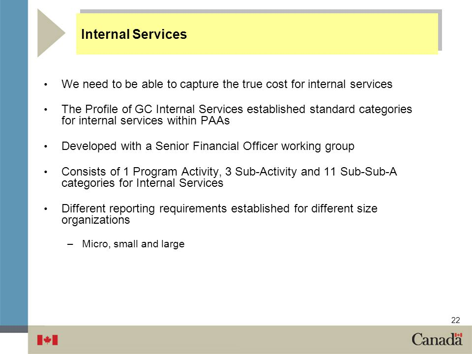 Internal Services We need to be able to capture the true cost for internal services.