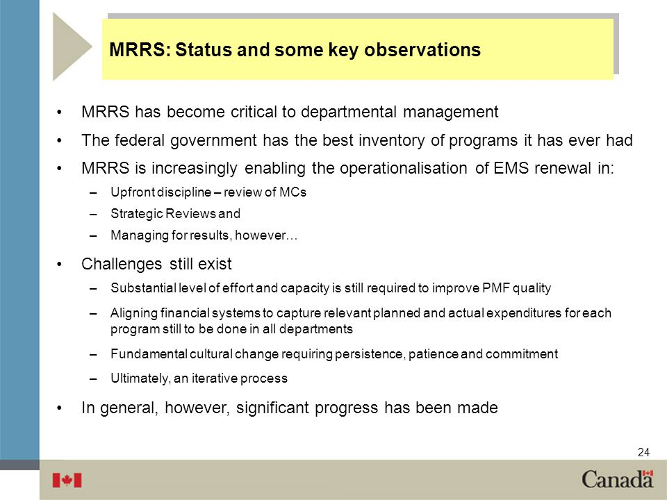 MRRS: Status and some key observations