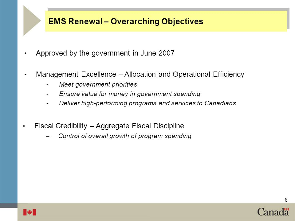 EMS Renewal – Overarching Objectives
