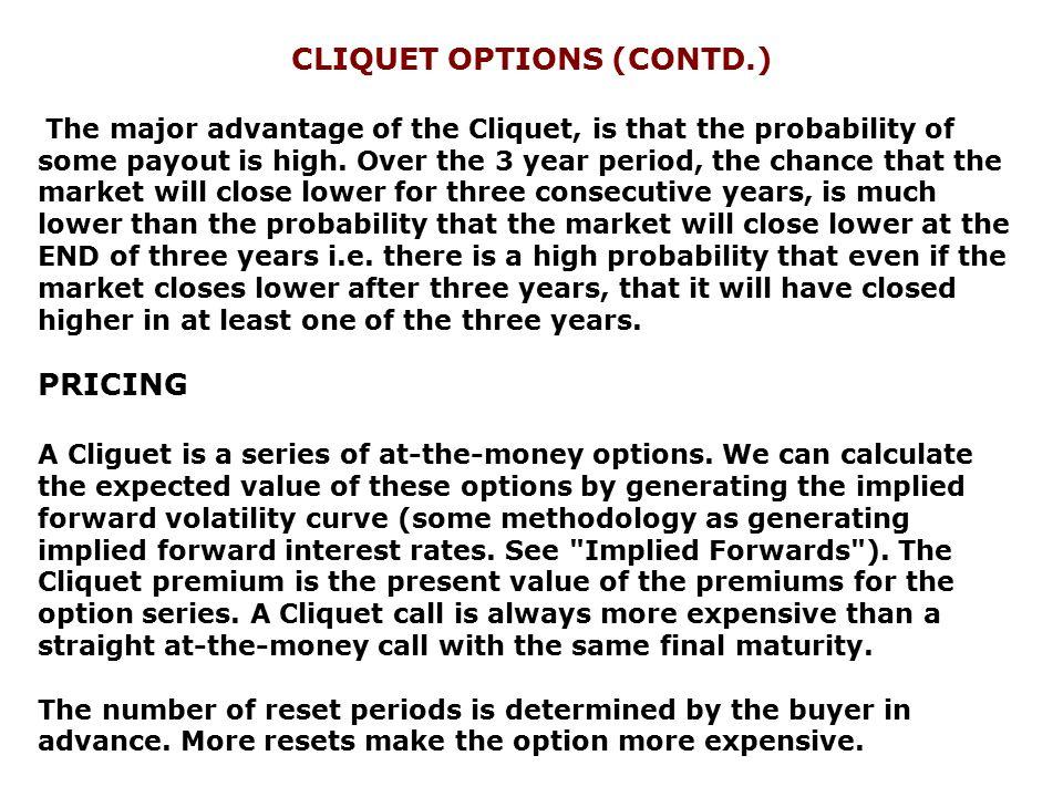 CLIQUET OPTIONS (CONTD.)