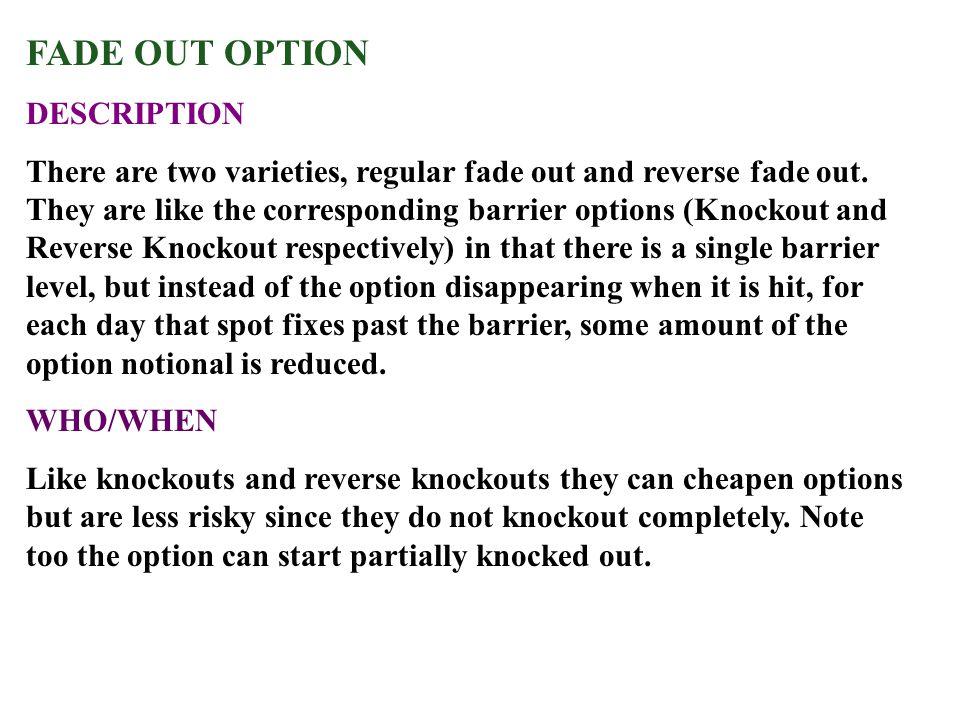 FADE OUT OPTION DESCRIPTION