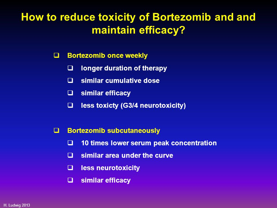 How to reduce toxicity of Bortezomib and and maintain efficacy