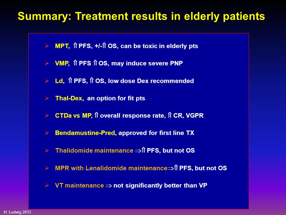 Summary: Treatment results in elderly patients