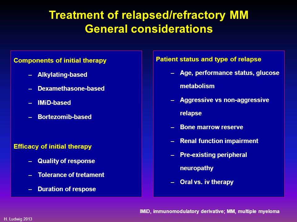 Treatment of relapsed/refractory MM General considerations