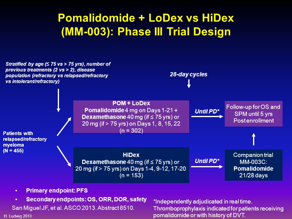 Pomalidomide + LoDex vs HiDex (MM-003): Phase III Trial Design