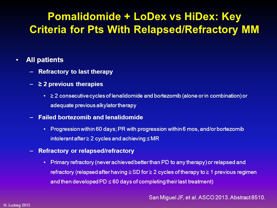 Pomalidomide + LoDex vs HiDex: Key Criteria for Pts With Relapsed/Refractory MM