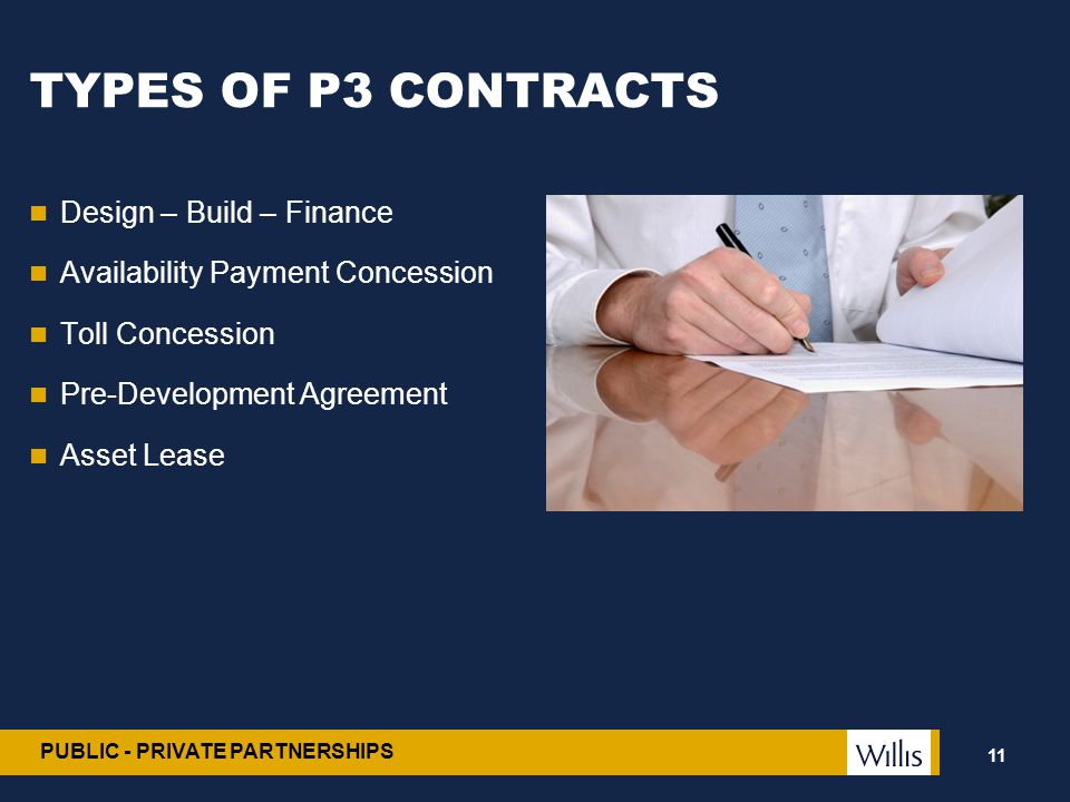 TYPES OF P3 CONTRACTS Design – Build – Finance