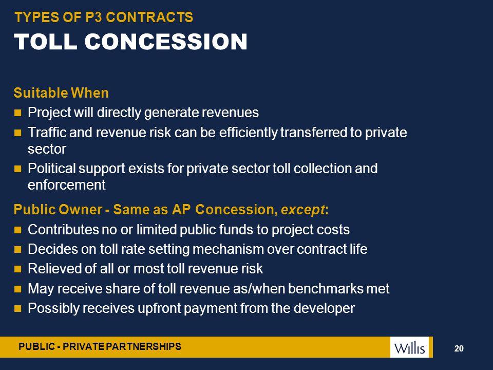 TOLL CONCESSION TYPES OF P3 CONTRACTS Suitable When
