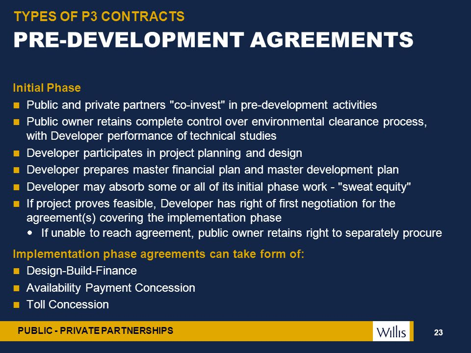 PRE-DEVELOPMENT AGREEMENTS