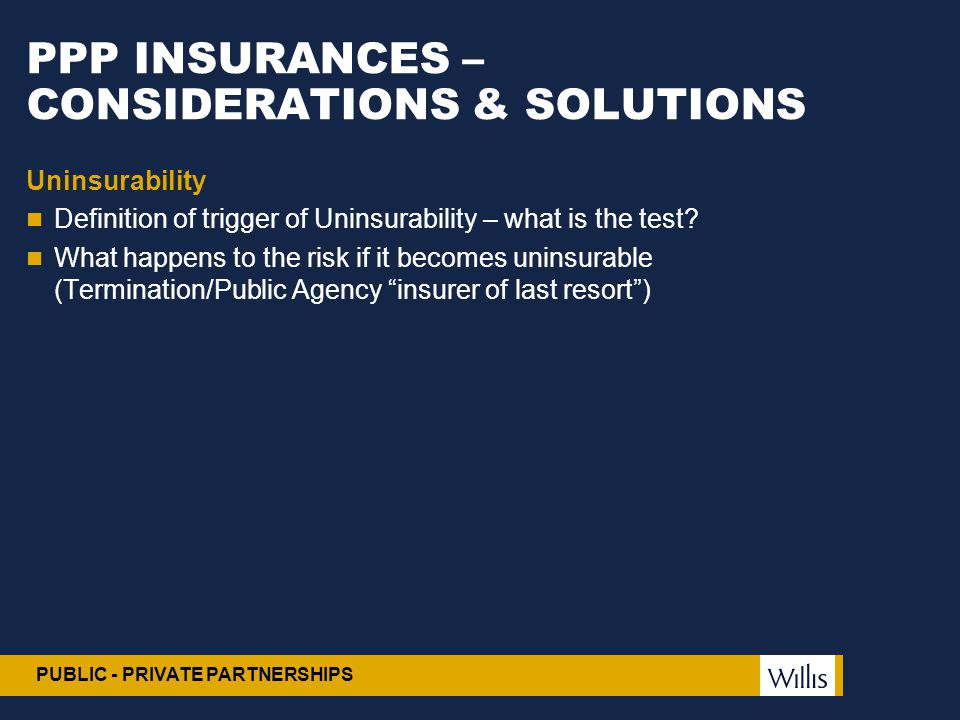 PPP INSURANCES – CONSIDERATIONS & SOLUTIONS