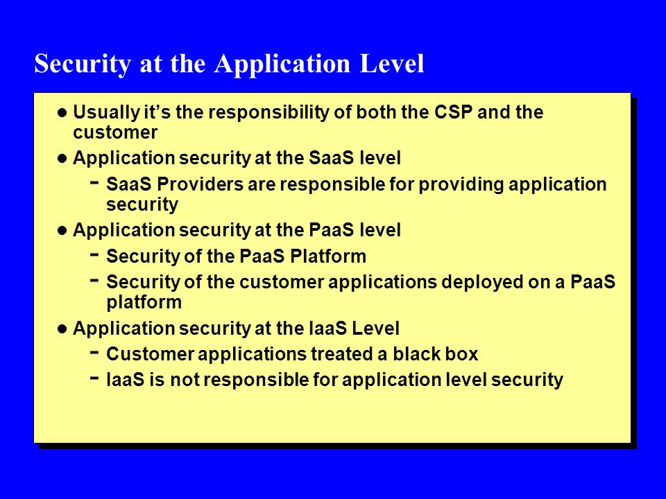 Security at the Application Level