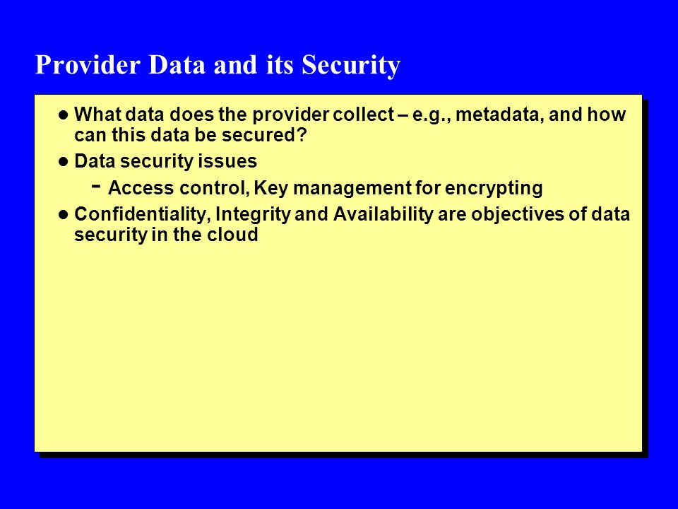 Provider Data and its Security