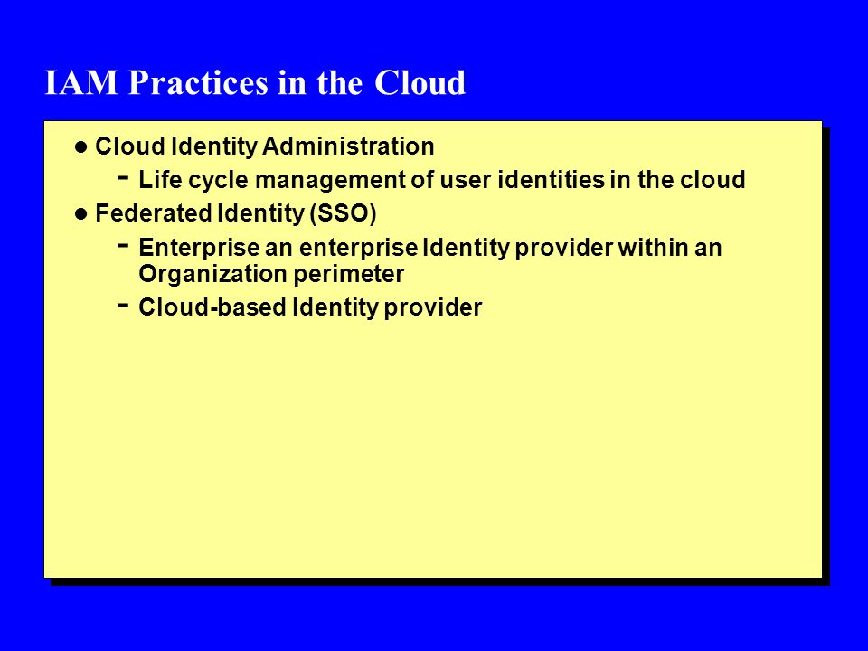 IAM Practices in the Cloud