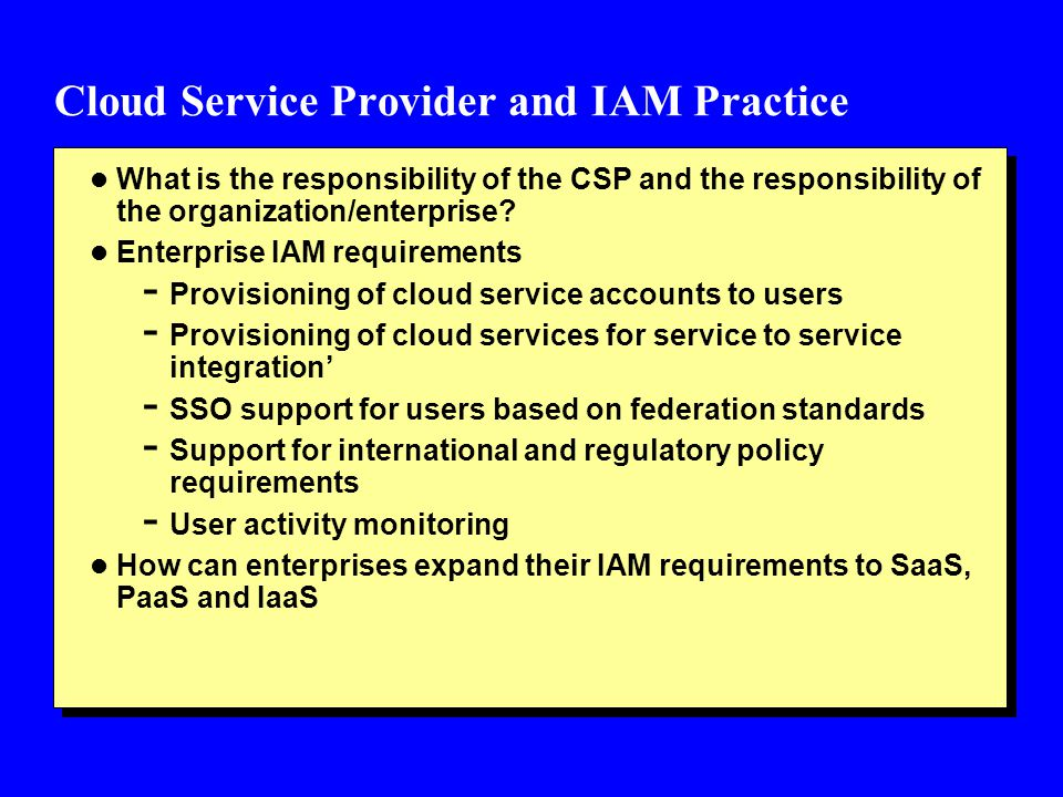 Cloud Service Provider and IAM Practice