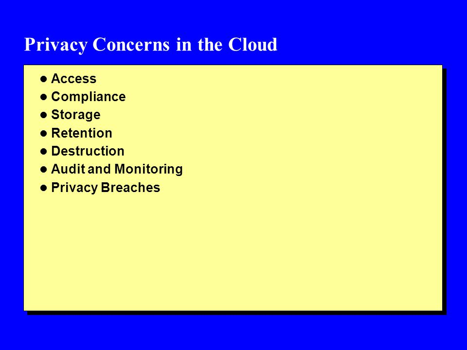 Privacy Concerns in the Cloud