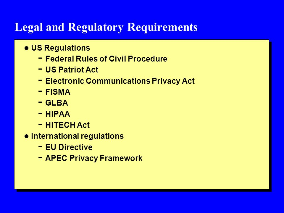 Legal and Regulatory Requirements