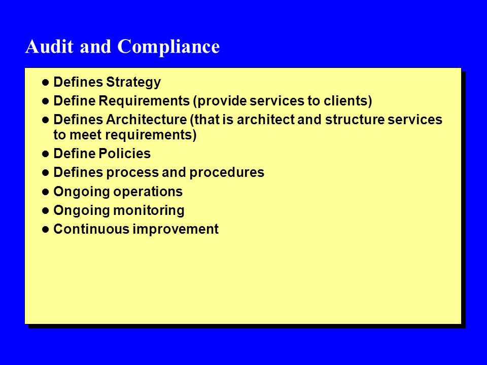 Audit and Compliance Defines Strategy